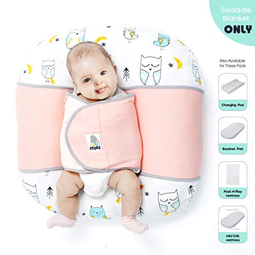 ECORE Baby Sleep Positioner,Premium Quality Infant Safe Sleep Swaddle Blanket,Comfortable Cotton Fabric,User Friendly and Modern Design, Fit Baby Loungers and Pack N Play Mattresses,Pink