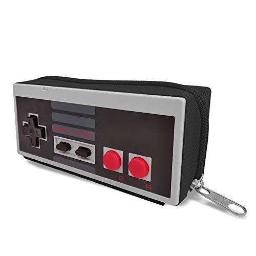 Mancha de Creación - Monedero de Mando NES, Cartera Retro Consola Gris, Cremallera Negra, Regalo Friki, Gamer, Retro, Vintage, Mujer y Hombre
