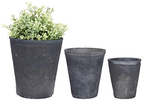 Esschert Design AT31 Lot de 3 pots de fleurs ronds en terre cuite vieillie Anthracite