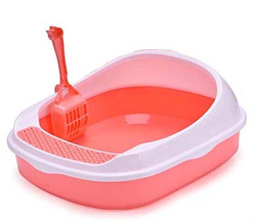 DSHBB Kattenbak met hoge rand, kattenbak, gehoorbescherming, kattenbak (kleur: roze)