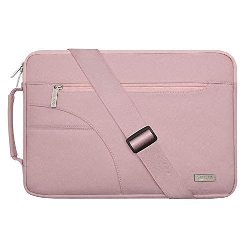 MOSISO Laptop Shoulder Bag Compatible with MacBook Pro 15 inch Touch Bar A1990 A1707, 14 inch Notebook Computer, Polyester Briefcase Sleeve with Side Handle, Pink