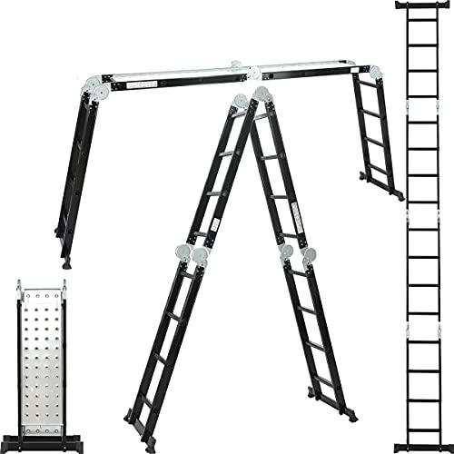 ALDORR Professional 4x4 Klappleiter aus hochwertigem Aluminium | Mehrzweckleiter | Belastbarkeit bis zu 150kg | Sicher und zuverlässig (EN131)