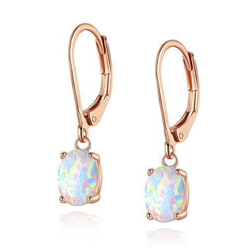 Leveback Dangle Earrings Rose Gold Plated Nickel Free Hypoallergenic with Created White Oval Opal 6x8mm for Teen Girls Women