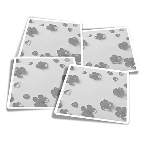 Vinyl Stickers (Set of 4) 10cm - BW - Cute Buttercup Flower Fun Decals for Laptops,Tablets,Luggage,Scrap Booking,Fridges #38960