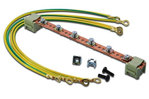 DIGITUS Potentialausgleichsschiene 220 mm für Netzwerk- & Serverschränke, 6 Verbinsungspunkte, inkl. Erdungskabel Ø 4mm, Kupfer