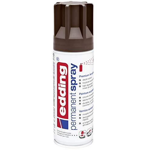 edding 5200 Permanent-Spray - schokoladen-braun matt - 200 ml - Acryllack zum Lackieren und Dekorieren von Glas, Metall, Holz, Keramik, lackierb. Kunststoff, Leinwand, u. v. m. - Sprühfarbe