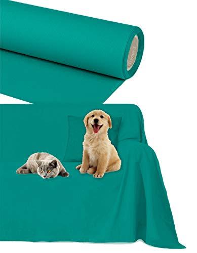 Byour3 Funda de sofá Impermeable - protección para Sofás por Mascotas Niños Protector hidrófugo en Algodon Antimanchas Antideslizante para Pelo Gatos Perros (Verde Tiffany, 2/3 plazas 300x300cm)