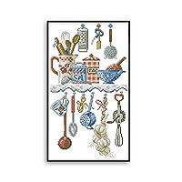 Proumhang新品欧米風プリントクロスステッチ11CT3ストランド刺繍キット美しいアニメー生活台所刺繍初心者へクロスステッチDIY針仕事キャンバスアイーダプリント29cm * 48cm:キッチンウェア