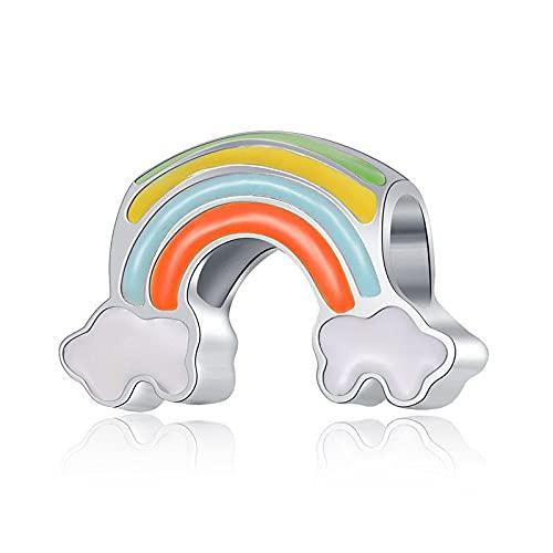 Pandora 925 joyería de plata esterlina colgantes novo bonito arco-íris branco nuvens pingente contas adequado para charme pulseira senhoras jóias fazendo presentes