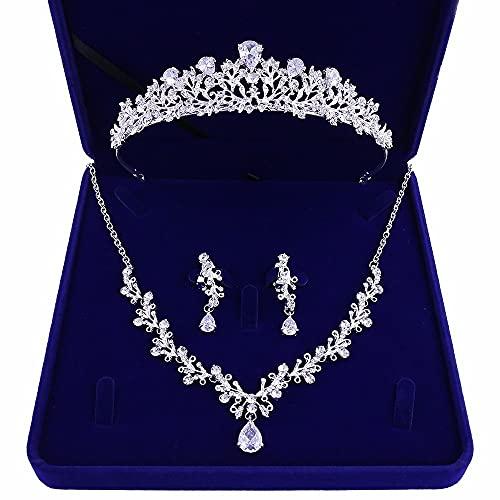 zhengyang Juego de joyas de cristal para novia con tiara de lujo con diamantes de imitación de boda, collar y pendientes, juego de joyas de novia (color de metal: juego de 3 piezas de plata)