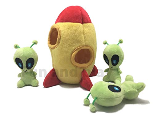 Modern Wave - Squeaky Plush Dog Toy - Interactive Hide and Seek Squirrel Type Puzzle Toy for Dogs, Small Size (Spaceship and Aliens)