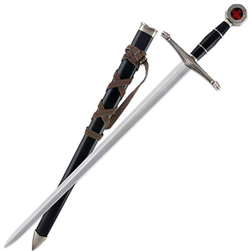 Tomahawk Black Prince Medieval Sword with Sheath - Historical Reproduction, Cast Metal Handle - 22 1/2' Length