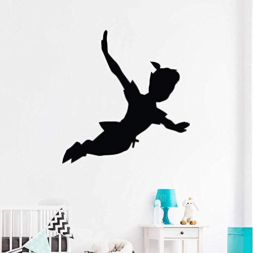 Flying Peter Pan Silueta Bebé Habitación Niño Niña Vinilo Adhesivo Removible Kindergarten Tatuajes De Pared Calcomanía De Dibujos Animados Póster & Lt; & Gt; 78X63Cm