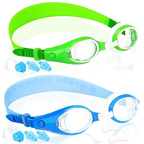 Gafas de natación para niños de 3 a 15 años, gafas de natación para niños con cubierta de la nariz, sin fugas, antiempañamiento, impermeable, 2 unidades (2 unidades) azul real y verde