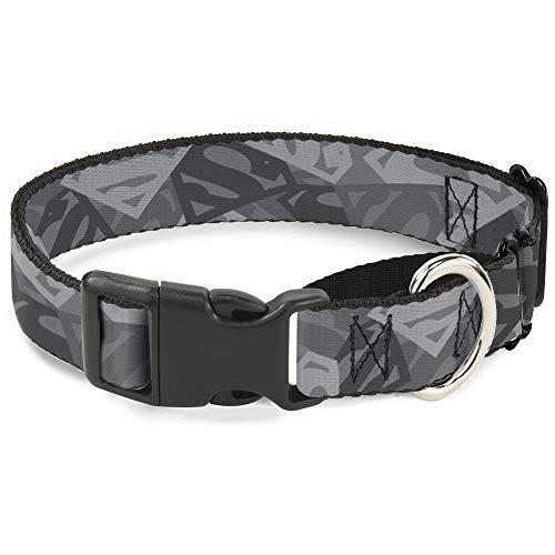 Buckle-Down Hundehalsband Martingale Superman Schild Camouflage Grau 38,1 bis 66 cm breit 2,5 cm breit