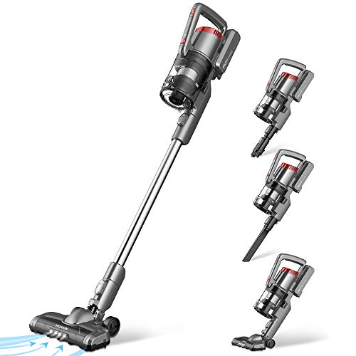 VEAVON P8PLUS Cordless Vacuum Cleaner, Lightweight Bagless Vacuum, 40 Minutes Long Running Time, 4 in 1 Stick Vacuum, 24W Powerful Suction for Hard Floors, 3 Crevice Tool for Home Pet Hair, Gray