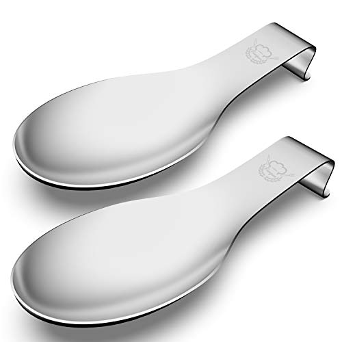 Stainless Steel Spoon Rest Set of 2, Fungun Large patula Ladle Holder, Spoon Rest Holder, Dishwasher Safe