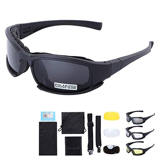Polarized Outdoor Tactical Glasses Windproof Military 4 Lens Kit Goggles Outdoor Cycling Sunglasses (Black)