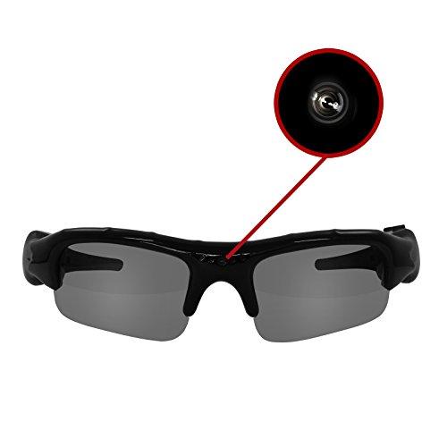 Eaxus®️ Action Videobrille/Spionbrille/Kamerabrille. Actionkamera mit Sonnenbrille - Mini Kamera und Mikrofon. Versteckte Videokamera, Camcorder VGA Überwachungskamera.