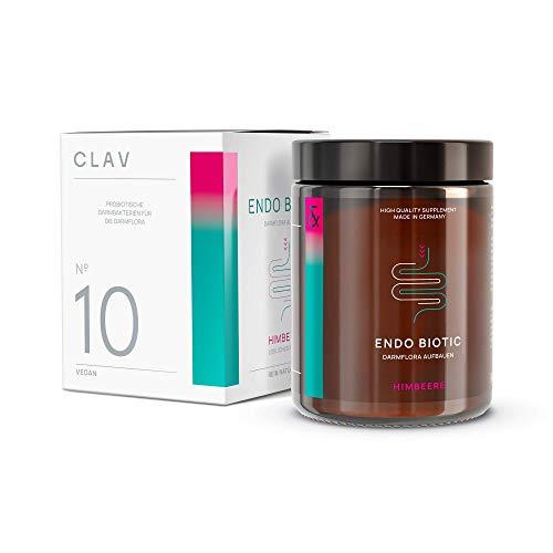 CLAV N°10 ENDO BIOTIC Himbeere | Bakterien-Kulturen-Komplex als Kaltgetränkepulver | 9 Bakterienstämme + Inulin | Lactosefrei + ohne Zucker + Vegan | 90g Pulver