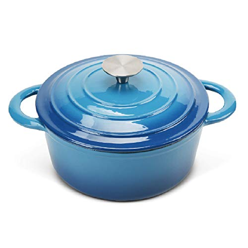 COOKWIN Enameled Cast Iron Dutch Oven with Self Basting Lid Nonstick Enamel Coated Cookware Pot Blue 29 QT