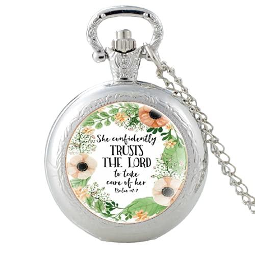 Bible Verse'Trusts The Lord'Pattern Vintage Reloj de bolsillo de cuarzo reloj colgante reloj hombres mujeres cristal cúpula collar mejores regalos