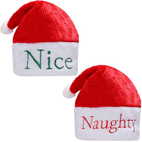 Aneco 2 Pack Naughty or Nice Santa Hats Embroidered Santa Hat with Hand Stitched Naughty in Red on One Side and Nice in Green on The Other for Christmas Festive Holiday