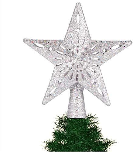 Luces LED para decoración de árboles de Navidad, Topper de árboles de Navidad, para decoraciones de árboles de Navidad Luz nocturna giratoria estrellada, Decoración de fiestas (Estrella de plata)