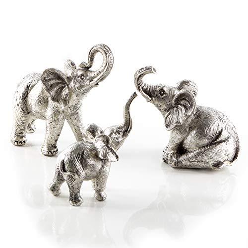 Logbuch-Verlag 3 figuras de elefante de piedra artificial, plata brillante, elefantes africanos, figuras decorativas para colocar de pie, amuleto de la suerte decorativo elefante