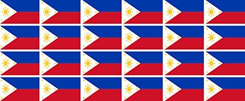 Mini Aufkleber Set - Pack glatt - 33x20mm - Sticker - Philippinen - Flagge - Banner - Standarte fürs Auto, Büro, zu Hause & die Schule - 24 Stück