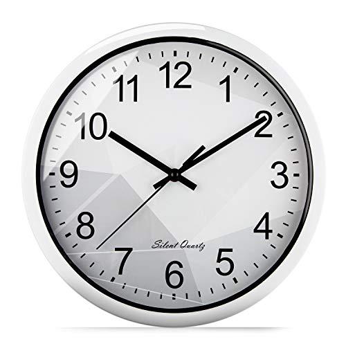 Reloj de Pared Silencioso Blanco de Cuarzo de 30 cm, Movimiento Continuo sin Ruido Tic TAC, Diseño Original para la Decoración de Casa