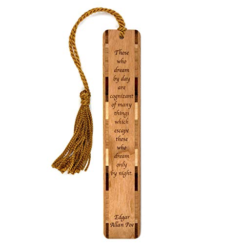 Edgar Allan Poe Daydreaming Quote, Engraved Wood Bookmark with Tassel - Also Available Personalized