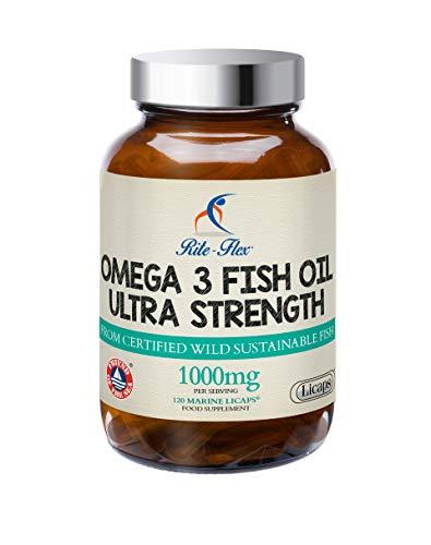 Rite-Flex, Olio di Pesce Omega 3 Ultra Forte, Integratore Alimentare di EPA e DHA (120 Capsule Liquide)