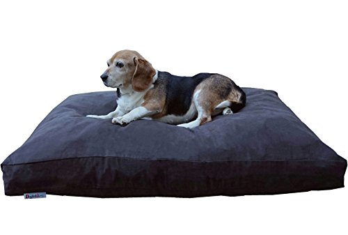 Dogbed4less Memory Foam Dog Bed for Medium Large Dogs with Orthopedic Comfort, Waterproof Liner and Espresso Washable Pet Bed Cover 40X35 Pillow