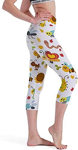 MODORSAN Insectos con Estampado de Siete Puntos, Pantalones de Yoga, Mallas, Control del Vientre
