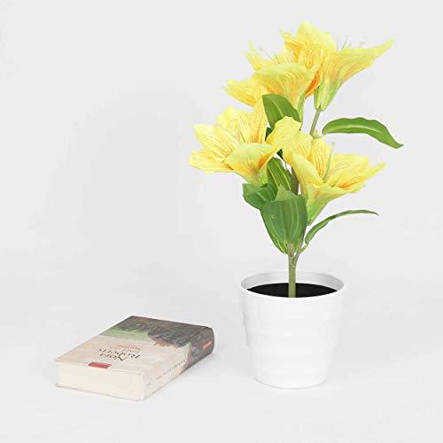 Deko LED Lilie weiß gelb beleuchtet Batterie Blumentopf Kunstpflanze Blume 42cm Kunstpflanze Kunstblume Licht Lichter Tischlampe Tischleuchte