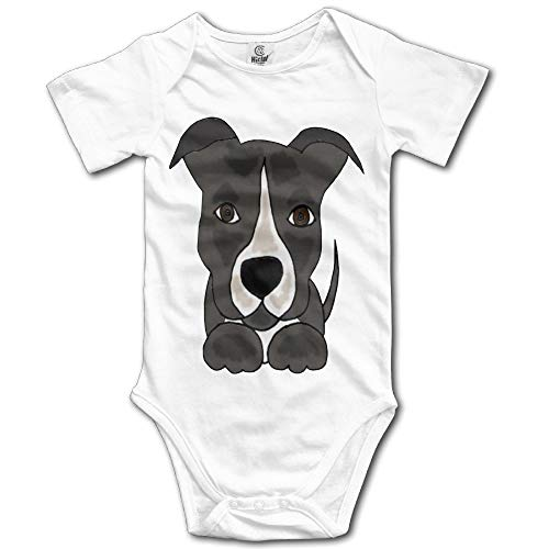 FGRFQ Cute Grey Pitbull Puppy Dog Kids Baby Romper