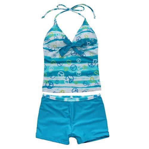 iEFiEL Mädchen Bademode Tankini Bikini Badeanzug Schwimmanzug Gr. 128 140 152 164 176 (158-164, Blau)