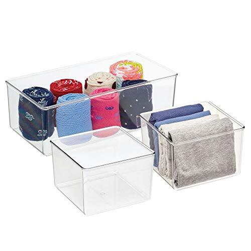 mDesign Lange Kunststoff-Schubladen-Organizer-Box, Aufbewahrungsbehälter, für Schränke, Schlafzimmer, Verwendung für Leggings, Socken, Krawatten, Hemden, Camisoles – 3 Stück – transparent