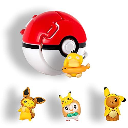 HONGECB Action Figure Poke Ball, Mini Giocattoli e ball, Kid Toys Plastic Anime Pokeball Figure, Cartoon Mini Figurine, per Bambini e Adulti Festa Giocattolo Regalo, 4+1 Pezzi