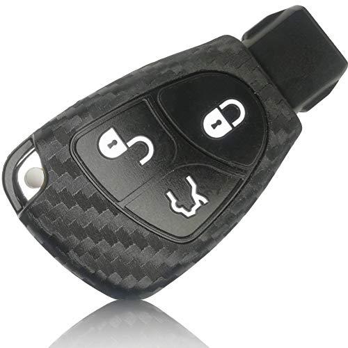 FoilsAndMore Funda Compatible con Mercedes Benz 2-Llave de Coche con 3 Botones - Silicona Cubierta Protectora Cover Caso Clave in Carbon Negro