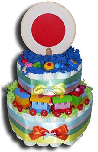 Tarta de pañales mágica – Choo Choo Choo Choo Tren de pañales para niños o niñas, regalo neutral, regalo de baby shower, bautizo, nacimiento, regalo