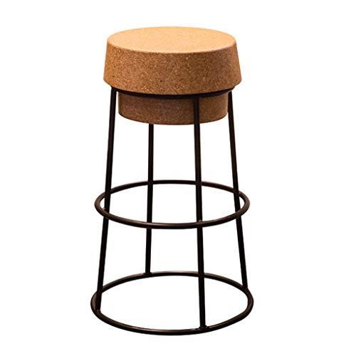 LEI ZE JUN ☀ JBD Sgabello da bar moderno semplice arte di ferro rotondo sedia caffè contatore personalità sedile manutenzione, metallo, Nero , 75cm seat high
