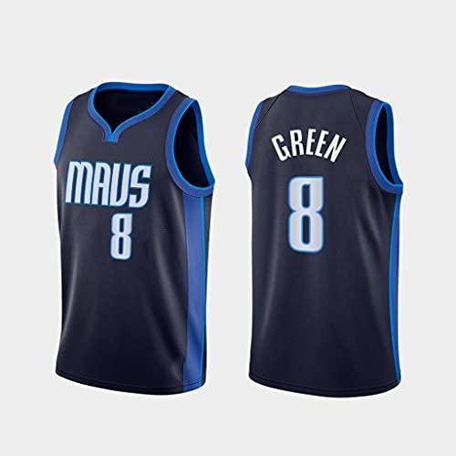 GLACX Ropa de Baloncesto para Hombre Dallas Mavericks 8# Verde Nueva Bordada Chaleco Sin Mangas Camiseta Unisex,S