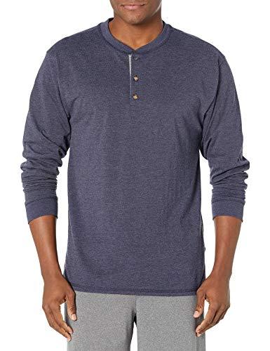 Hanes Men's Long-Sleeve Beefy Henley T-Shirt - Medium - Hanes Navy Heather