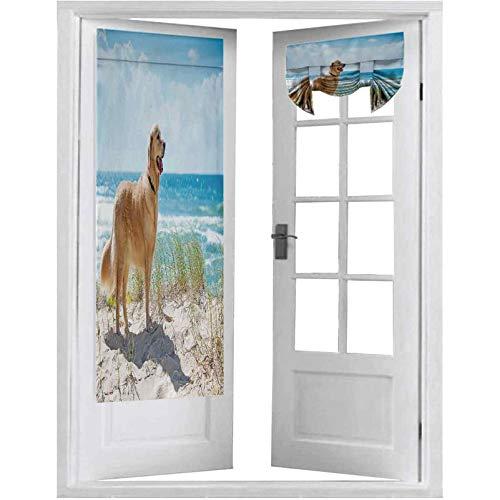Cortina opaca para puerta francesa, Golden Retriever en una duna de arena con vistas al océano tropical fuera del cielo, 2 paneles de 66 x 172 cm con aislamiento térmico y privacidad