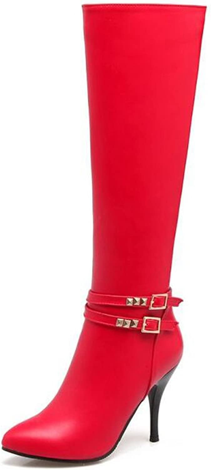 IDIFU Women's Sexy Studded Pointed Toe High Stiletto Heels Side Zip Up Long Knee High Boots