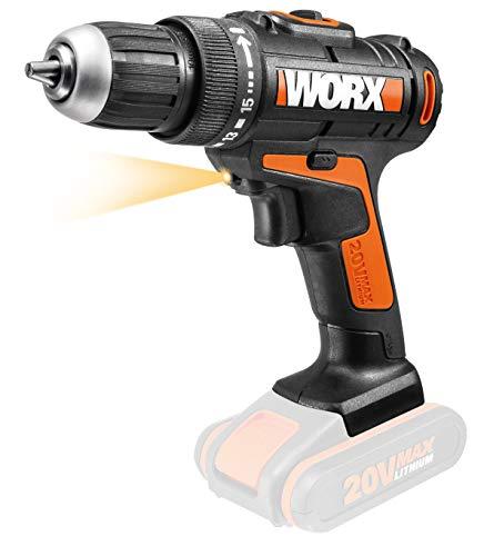 WORX WX166.9 Accu-boormachine – 20 V professioneel gereedschap voor boren en schroeven – PowerShare compatibel – wordt geleverd zonder accu en oplader
