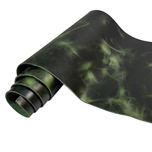 2,0 mm cera di olio/pelle bovina con utensili scoloriti, top grade vera pelle quadrata (verde, 61 x 61 cm)