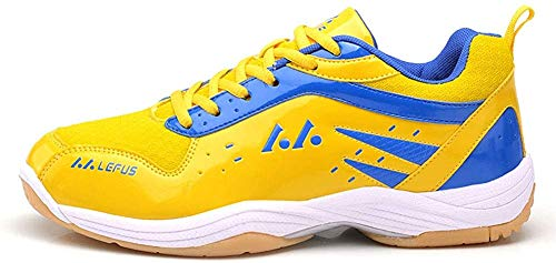 Mengxx Men Badminton Shoes Leichte Sportschuhe Atmungsaktives Tennis Indoor Sports Sneakers (44 EU, Gelb)